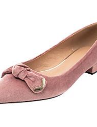 baratos -Mulheres Sapatos Tecido Primavera / Outono Conforto Rasos Sem Salto Dedo Apontado Laço Preto / Rosa Claro