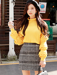 DABUWAWA Women's Going out Casual/Daily Simple Vintage Regular Pullover,Solid Turtleneck Long Sleeves Polyester Nylon Winter Fall Opaque