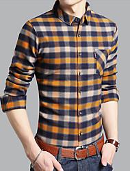Masculino Camisa Social Casual Temática Asiática Primavera Outono,Estampado Poliéster Colarinho de Camisa Manga Comprida Média