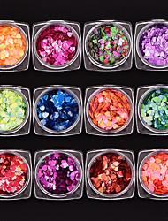 economico -12 pezzi A cuore Con lustrini Multicolore Nail Art Design