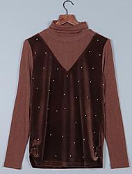 baratos -Feminino Blusa Para Noite Vintage Sólido Cashmere Decote V Manga Comprida