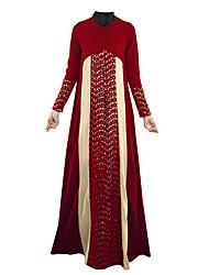 baratos -Jalabiya Vestido Kaftan Abaya Vestido árabe Mulheres Festival / Celebração Trajes da Noite das Bruxas Preto Roxo Vermelho Verde Estampa