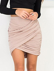 cheap -Women's Holiday Club Mini Skirts, Sexy Street chic Bodycon Polyester Solid All Seasons