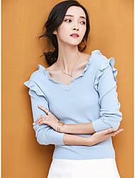 Dámské Běžné/Denní Standardní Rolák Jednobarevné,Dlouhý rukáv Do V Polyester Zima Podzim Tenké Lehce elastické