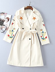 cheap -Women's Casual/Daily Simple Winter Fall Trench Coat,Solid Print Shirt Collar Long Sleeve Long Polyester Embroidered