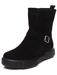 Недорогие -Жен. Обувь Нубук Бархат Зима Осень Зимние сапоги Модная обувь Ботильоны Ботинки На плоской подошве Круглый носок Ботинки Сапоги до