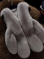 Для женщин На каждый день Зима Осень Пальто с мехом V-образный вырез,Простой Однотонный Короткая Без рукавов,Искусственный мех,Меховая