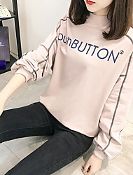 cheap -Women's Petite To-Go Simple Sweatshirt Print Letter Turtleneck Without Lining Stretchy Polyester Long Sleeve Fall/Autumn