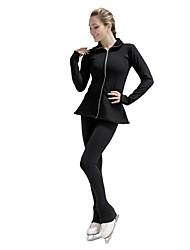Недорогие -Куртка и штаны для фигурного катания Жен. Девочки Катание на коньках Спортивный костюм Брюки Верхняя часть Черный Спандекс Неэластичная