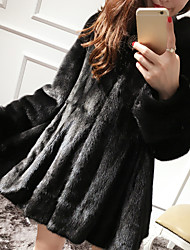 cheap -Women's Casual/Daily Simple Winter Fur Coat,Solid Hooded ¾ Sleeve Short Faux Fur Fur Trim
