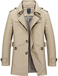 cheap -Men's Vintage Long Trench Coat-Solid Colored Shirt Collar