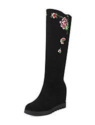 cheap -Women's Shoes Nubuck leather Winter Fall Fashion Boots Boots Flat Round Toe Knee High Boots Mid-Calf Boots Satin Flower for Office &