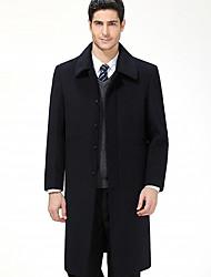 Langt Ærme Krave Herrer Lang Ensfarvet Vinter Simple Dagligdagstøj Afslappet/Hverdag Frakke,Polyester
