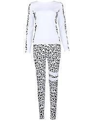 baratos -Mulheres Conjunto Camiseta e Calça de Corrida Manga Longa Fitness Conjuntos de Roupas para Ioga / Corrida Poliéster Branco S / M / L