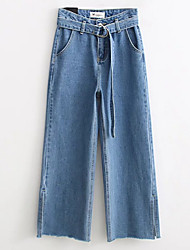 billige -Dame Bomuld Jeans / Chinos Bukser Ensfarvet Højtaljede / Efterår