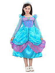 abordables -Princesse / Cinderella / Conte de Fée Robes Halloween Fête / Célébration Déguisement d'Halloween Cyan Sirène Halloween