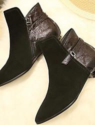 Недорогие -Для женщин Обувь Натуральная кожа Нубук Весна Осень Удобная обувь Модная обувь Ботинки Блочная пятка Ботинки для Повседневные Черный
