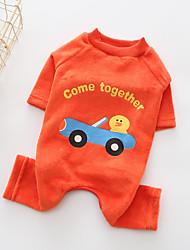 abordables -Chien Combinaison-pantalon Vêtements pour Chien Bande dessinée Orange Coton Costume Pour les animaux domestiques Homme / Femme
