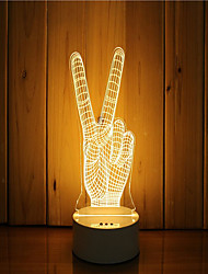 cheap -1 Set Of 3D Mood Night Light Hand Feeling Dimmable USB Powered Gift Lamp Victory Gesture