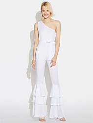 Women's Party Daily Club Casual Sexy Street chic Solid One Shoulder Jumpsuits,Bootcut Sleeveless Spring Summer Polyster
