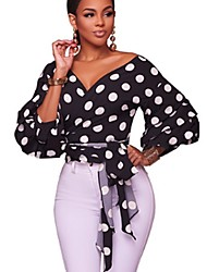 cheap -Women's Party/Cocktail Casual/Daily Sexy All Seasons T-shirt,Polka Dot Deep V ¾ Sleeve Rayon Polyester Thin