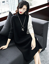 cheap -Women's Going out Casual/Daily Street chic Sweater Dress,Color Block Stand Midi Long Sleeve Wool Rabbit Fur Rayon Nylon Spandex Winter