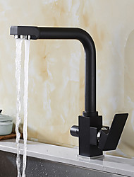 abordables -Antique Débit Normal Vasque Rotatif Soupape céramique Deux poignées un trou Laiton Antique, Robinet de Cuisine