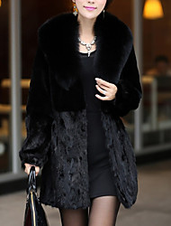 cheap -Women's Sports Simple Winter Fall Fur Coat,Solid V Neck Long Sleeve Regular Faux Fur Fur Trim