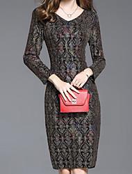 cheap -Women's Holiday Vintage Sheath Dress,Floral V Neck Above Knee Long Sleeve Nylon Winter Fall High Rise Micro-elastic Thin