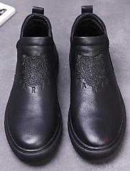 preiswerte -Herrn Schuhe Leder Winter Herbst Komfort Loafers & Slip-Ons für Normal Schwarz