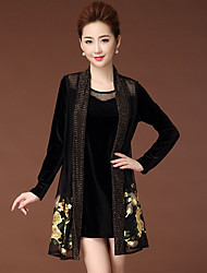 cheap -Women's Casual/Daily Simple Winter Blouse Dress Suits,Floral Round Neck Long Sleeve Silk