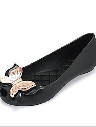 preiswerte -Damen Schuhe PVC Frühling Herbst Komfort Flache Schuhe Flacher Absatz Runde Zehe für Normal Schwarz Blau Hautfarben