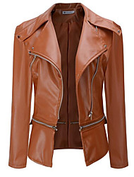 cheap -Women's Going out Street chic Winter Fall Leather Jacket,Solid Peter Pan Collar Long Sleeve Regular Polyester Pleated