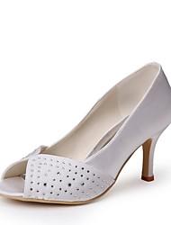 preiswerte -Damen Schuhe Seide Frühling Sommer Pumps Hochzeit Schuhe Stöckelabsatz Peep Toe Applikationen für Hochzeit Party & Festivität Weiß