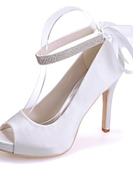 baratos -Mulheres Sapatos Cetim Primavera / Verão Plataforma Básica Sapatos De Casamento Salto Agulha Peep Toe Cadarço de Borracha Azul / Rosa
