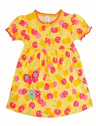 cheap -Baby Girl's Daily Holiday Print Dress,Cotton Cute Casual Short Sleeve Yellow