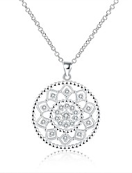 cheap -Women's Circle Sweet Fashion Hypoallergenic Pendant Necklace Chain Necklace Cubic Zirconia Zircon Copper Silver Plated Pendant Necklace