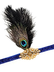 cheap -The Great Gatsby Flapper Headband 1920s Black / Blue / Golden Feather Cosplay Accessories Masquerade