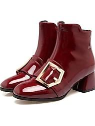 Недорогие -Для женщин Обувь Лакированная кожа Зима Осень Удобная обувь Гладиаторы Модная обувь Ботинки Плоские Квадратный носок Закрытый мыс Сапоги