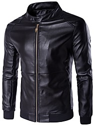 cheap -Men's Casual Punk & Gothic Leather Jacket-Solid Colored Stand