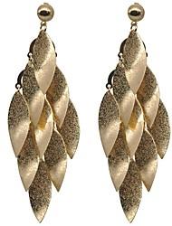 baratos -Mulheres Formato de Folha Aço Inoxidável Brincos Compridos / Brincos em Argola - Vintage / Importante / Fashion Dourado Forma Geométrica