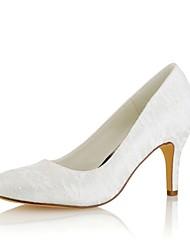 preiswerte -Damen Schuhe Stretch - Satin Frühling Herbst Pumps Hochzeit Schuhe Stöckelabsatz Runde Zehe für Kleid Party & Festivität Weiß Elfenbein