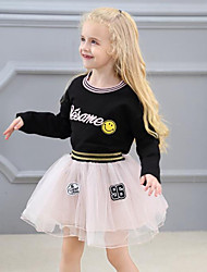 cheap -Girls' Patchwork Embroidered Clothing Set,Rayon Polyester Spring Fall Long Sleeve Cute Street chic Black Blushing Pink