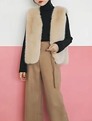 Uden ærmer V-hals Damer Normal Ensfarvet Vinter Efterår Aktiv I-byen-tøj Pelsfrakke,Imiteret pels