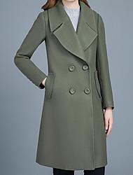 Недорогие -Для женщин Повседневные Зима Осень Пальто Рубашечный воротник,На каждый день Однотонный Длинная Длинные рукава,Шерсть Акрил Полиэстер,