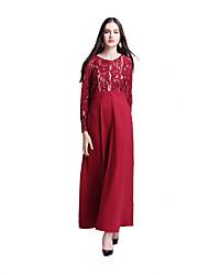cheap -Ethnic/Religious Arabian Dress Abaya Female Festival / Holiday Halloween Costumes Black Red Dark Green Ink Blue Lace