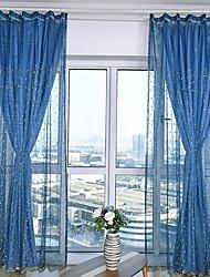 preiswerte -Ösen Zweifach gefaltet plissiert Window Treatment Modern, Druck & Jacquard Vintage Wohnzimmer Polyester Mischung Stoff Gardinen Shades
