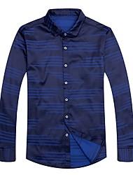 Masculino Camisa Social Casual Moda de Rua Todas as Estações,Sólido Listrado Poliéster Colarinho de Camisa Manga Comprida Opaca
