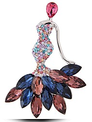 cheap -Women's Lovely Princess Synthetic Ruby / Synthetic Sapphire / Rhinestone Gemstone / Imitation Diamond Brooches - Fashion Silver Brooch For