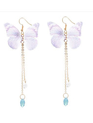 cheap -Women's Butterfly Synthetic Amethyst Crystal / Imitation Pearl Drop Earrings - Classic / Fashion Green / Blue / Pink Earrings For Daily /